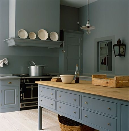 Swedish blue meta interiors for Dark blue kitchen paint